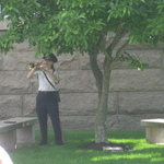 Dana plays Taps echo at Fireman's Memorial ceremony