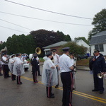 columbus Day preparing for parade in rain
