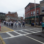 Marching and playing down Canal Street