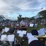 Mystic River Park Alison conducting --note bridge in background