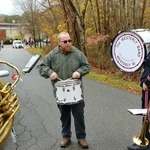 Veteran's Day prep for parade---substitute Drummer Andrew
