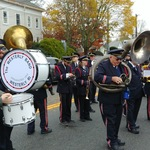 waiting to play for ceremony at Pawcatuck Memorial during Parade
