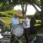 Shelter Harbor Concert- the drummers confer