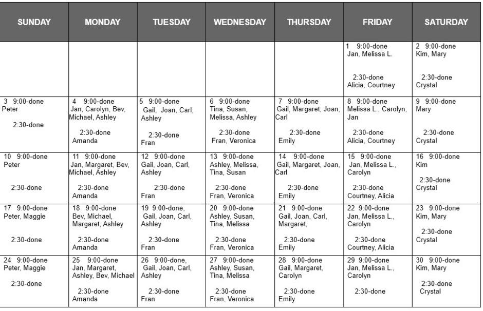 september cleaning shift schedule 1517 meadow street littleton