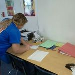 Student using the absent binder