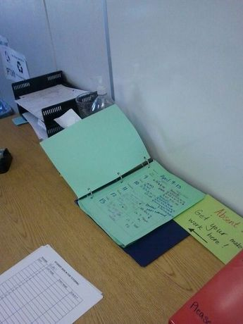 Assignments in the absent binder.