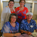 Caregiving family enjoys pancakes