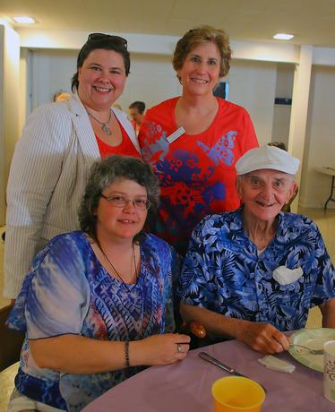 Caregiving family enjoys pancakes