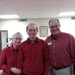 New caregivers, the Gallmans enjoy talking with board member Den