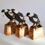 3 Magpies on Stands