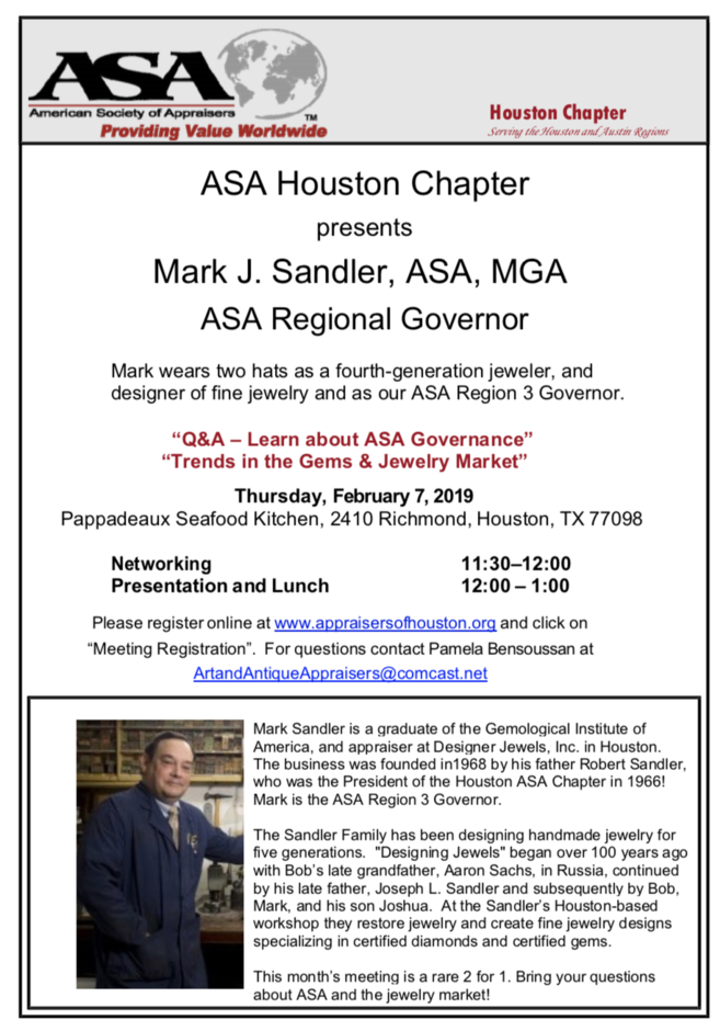 Asa Houston Calendar February 2019 Past Presentations   American Society of Appraisers