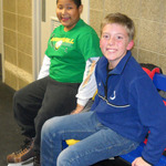 Two Webelos getting ready to skate