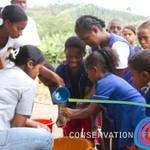 the community learns about sanitation!