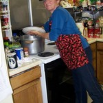 Volunteer Carey, making soup!