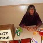 Volunteer, Nancy Milano - at the Voting