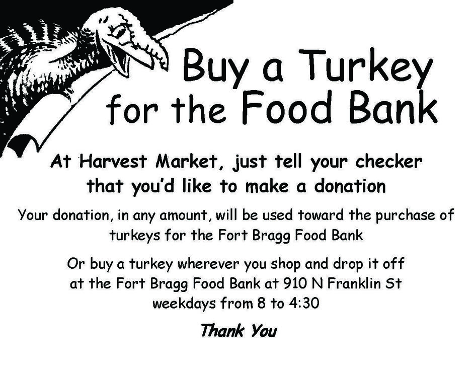 Buy-a-Turkey for the Fort Bragg Food Bank