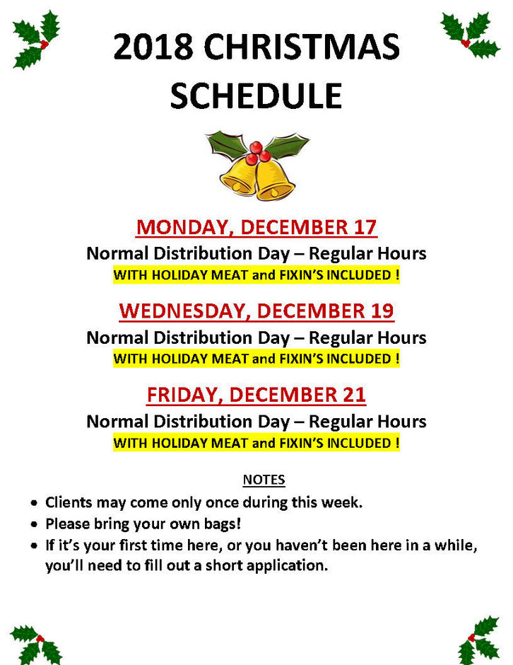 2018 Christmas Distribution Schedule