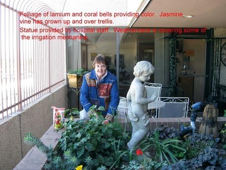 Carol Mossholder with large planter
