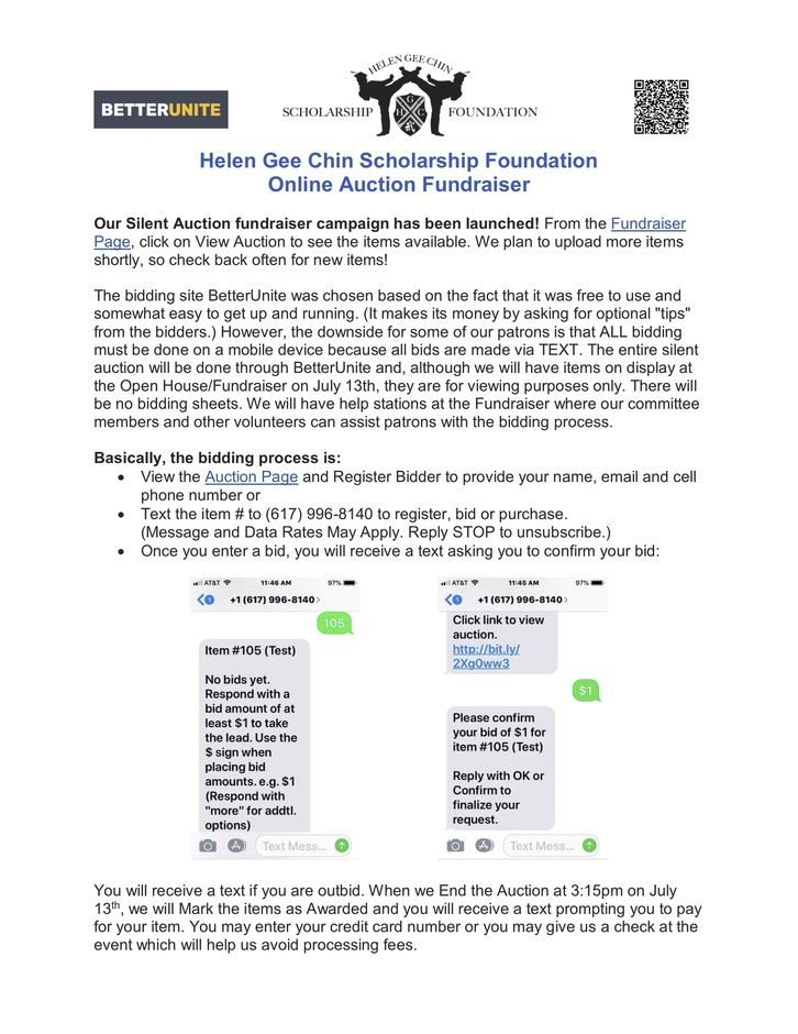 HGCSF Silent Auction Instructions image