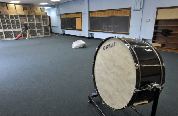 New carpet is installed for the band room.