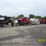 All the trucks lined up