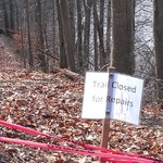 The section of trail  that is closed.