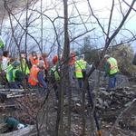 Some volunteers working on the gabions.