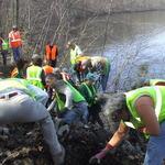 Volunteers working on Mink trail
