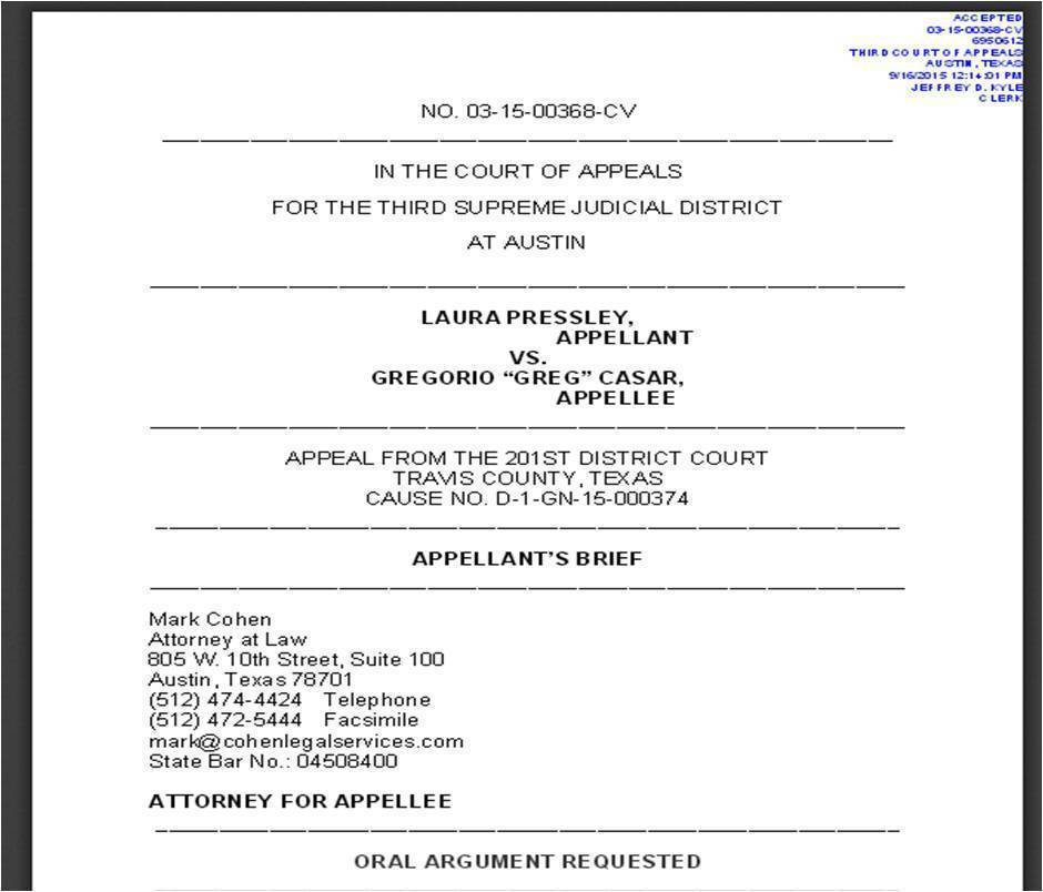 Pressley Election Contest Appeal Brief - Texas Third Court