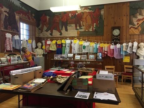 Exhibit of local aprons at the Milaca Museum