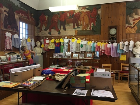 Exhibit of local aprons at the Milaca Museum