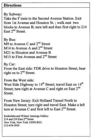 Directions to Wilmer Jennings Gallery at Kenkeleba