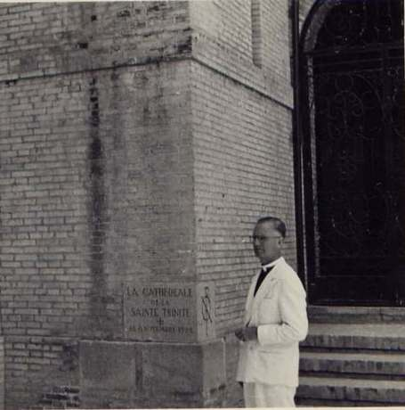 Bishop Voegeli in front of the St Trinity Cathedral in 1948