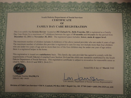 State Daycare Registration Certificate