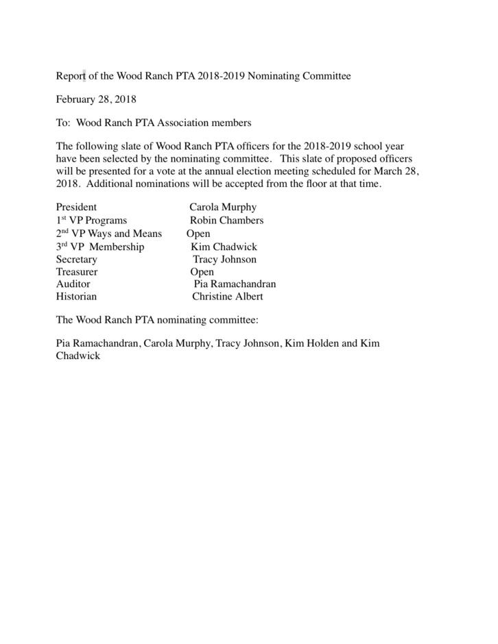 2018-2019 Nominating Report