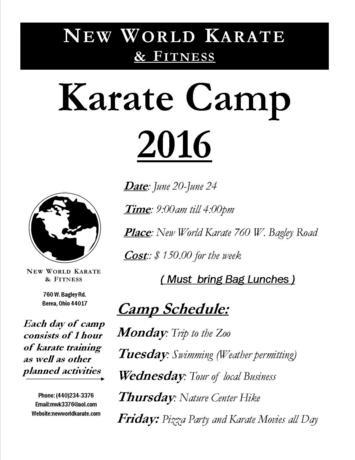 Karate Camp June 2016