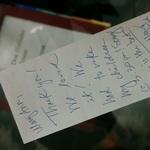 Hand Written Note.