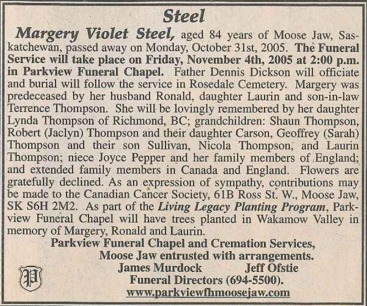 Margery Violet Steel