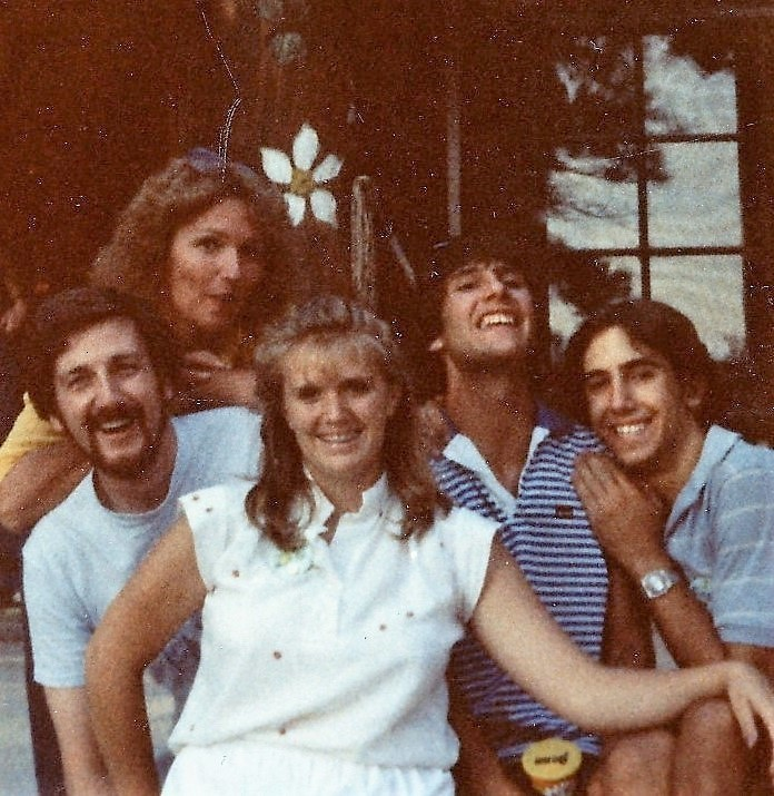 Dick Brindle and Jayne Wolfe on the left, Sandy Stanley in the center, Grant Crooks and Curt on the right. Photo taken in front of Ponderosa at LaForet.