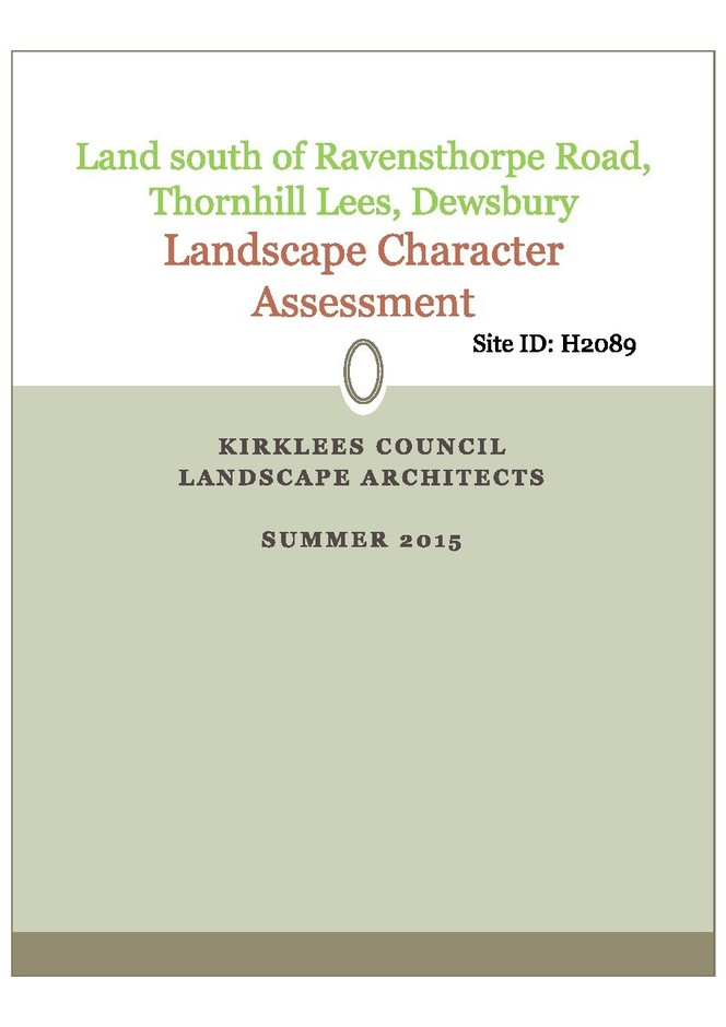 Landscape Character Assessment (Sands Lane)