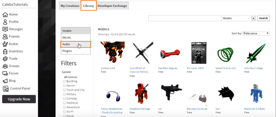 roblox audio page