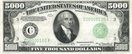 James Madison on US Currency (midsized)