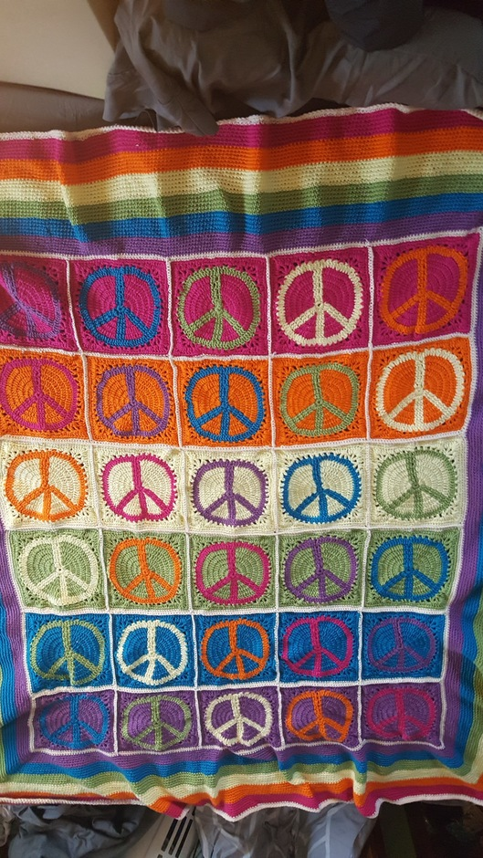 Peace Sign Crochet Blanket Goetz Gifts And Designs