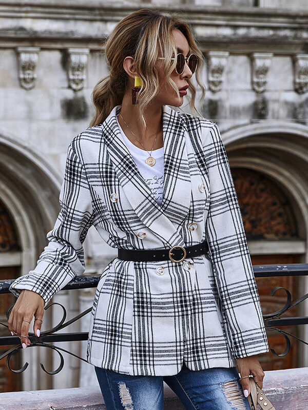shestar wholesale double breasted plaid office blazer suit